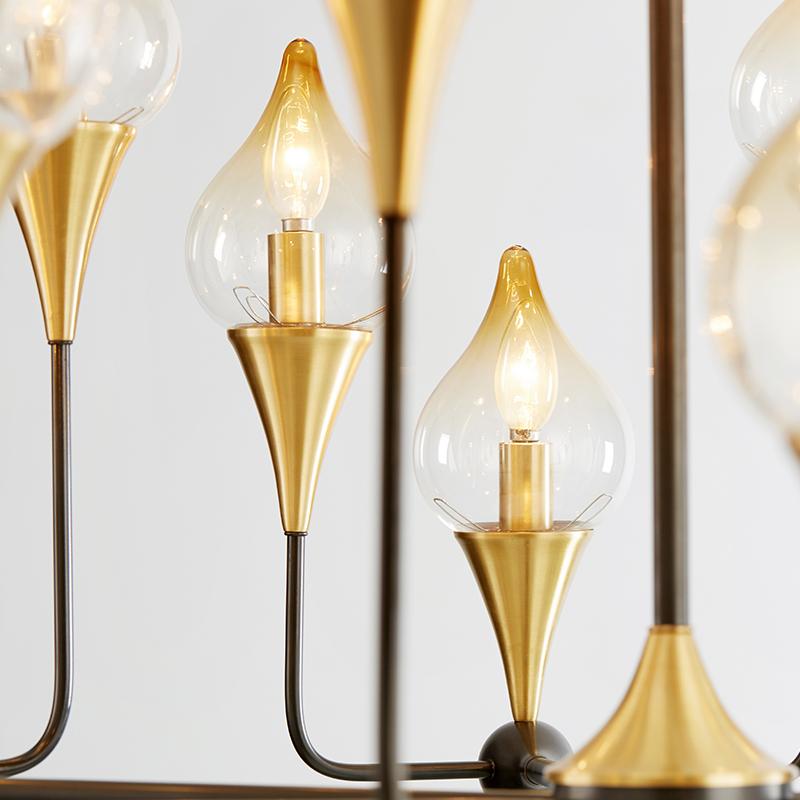นอร์ดิกเหล็กสร้างสรรค์ที่ทันสมัยโคมระย้าแก้วบุคลิกภาพ