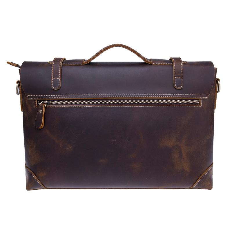 ที่มีคุณภาพสูงบ้าม้าหนังแท้ผู้ชายแล็ปท็อปของ messenger กระเป๋ากระเป๋าสะพาย