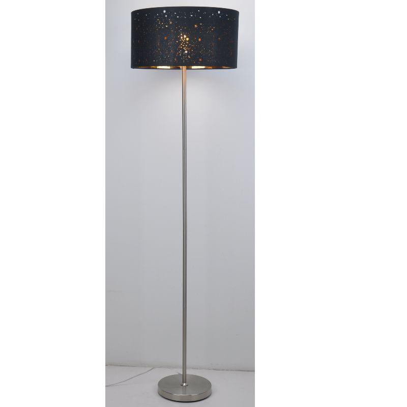 โคมไฟตั้งพื้นด้วยผ้าเงาดำตัดด้วยเลเซอร์
