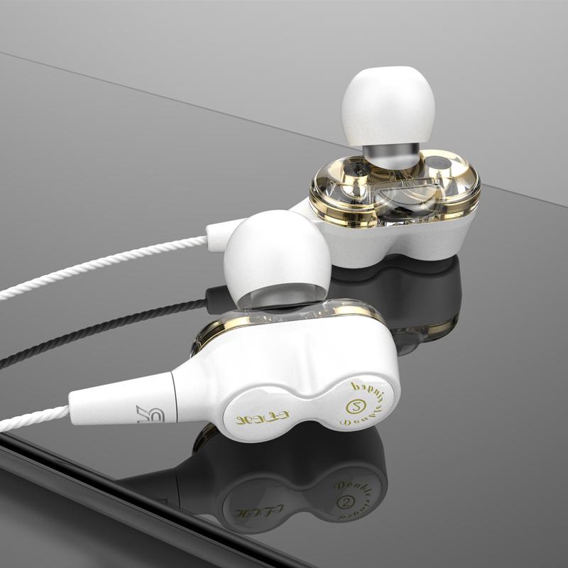 2019 ใหม่ไดร์เวอร์แบบ Dual ดีลึกเบสสเตอริโอ Hi-Fi ในหูหูฟังแบบมีสาย OE18
