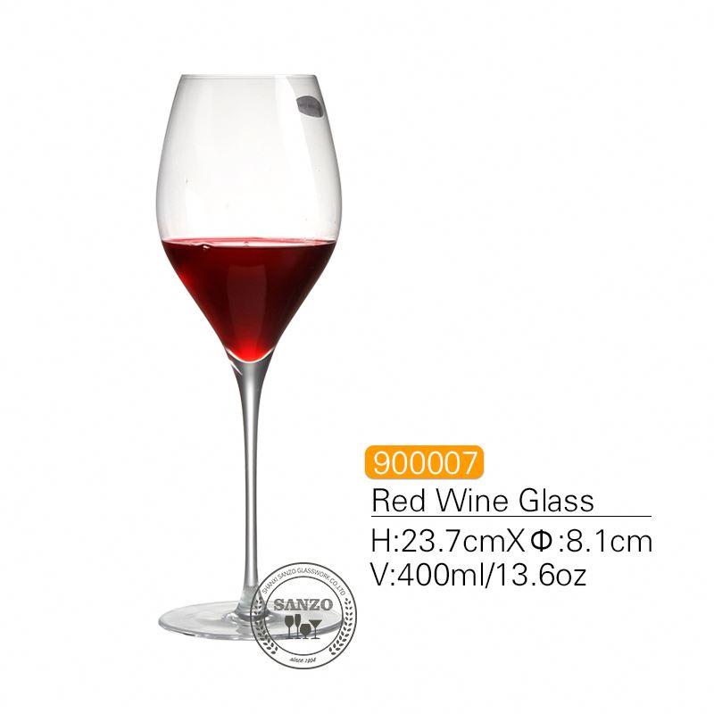 SANZO ก้านดำ Lismore บอลลูนแก้วไวน์แฮนด์เมดตะกั่วคริสตัลฟรีสลักแว่นตาแว่นตาหนา